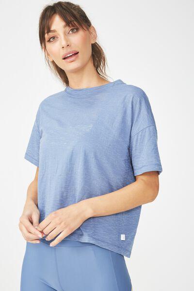 Boxy Burnout T Shirt, CHALKY BLUE