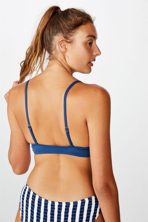 Scoop Crop Bralette Bikini Top, MARINA BLUE SHIRRED