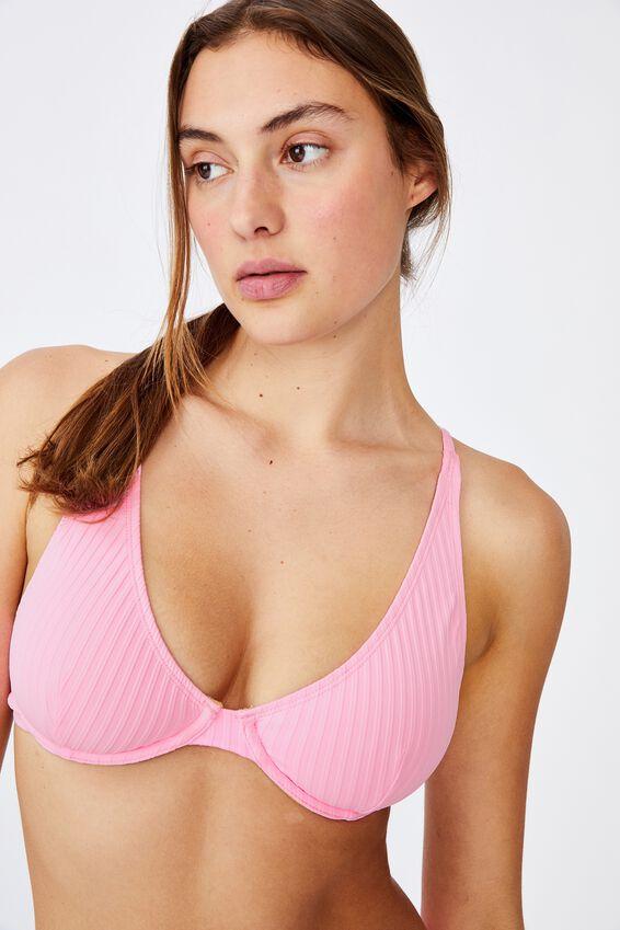 Half Wire Bralette Bikini Top, STRAWBERRY RIB