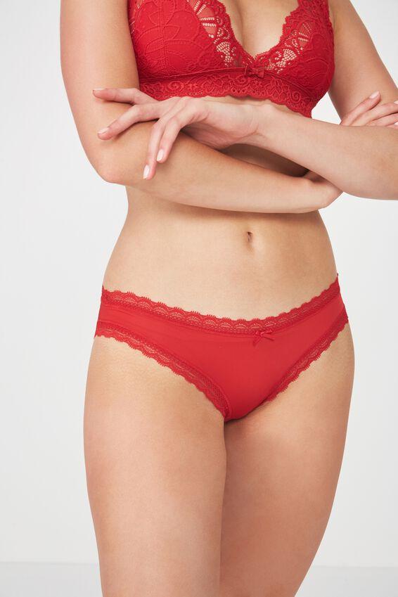 Smooth Lace Trim Bikini Brief, TRUE RED