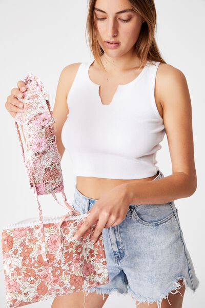 Summer Essentials Bikini Bag, PINK RETRO FLORAL