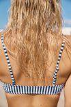 Scoop Crop Bralette Bikini Top, BLUE STRIPE
