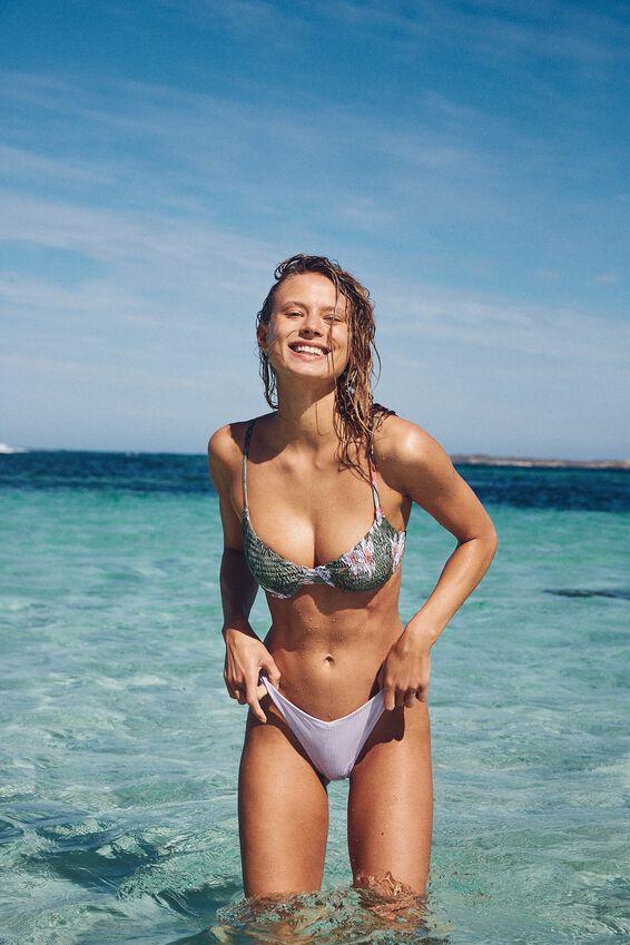 High Side Brazilian Bikini Bottom, LILAC RIB