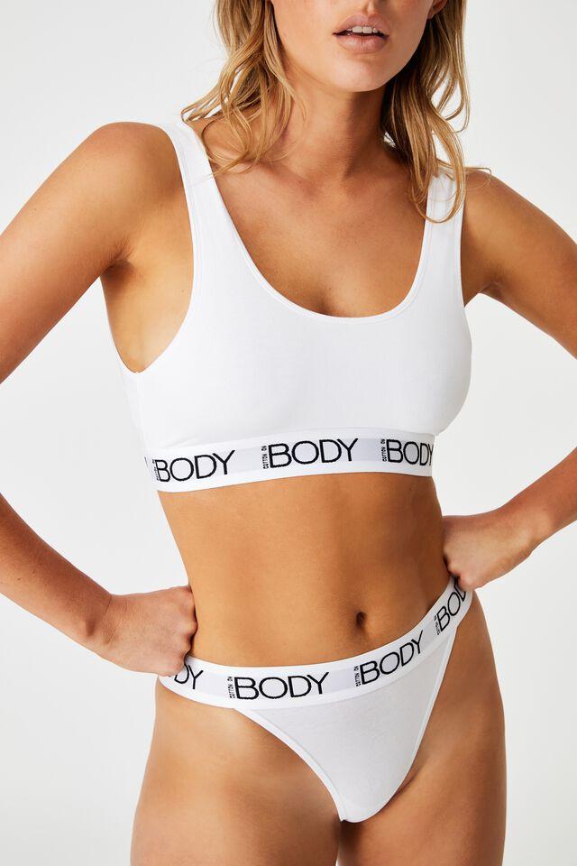 Body Organic Cotton Crop, WHITE