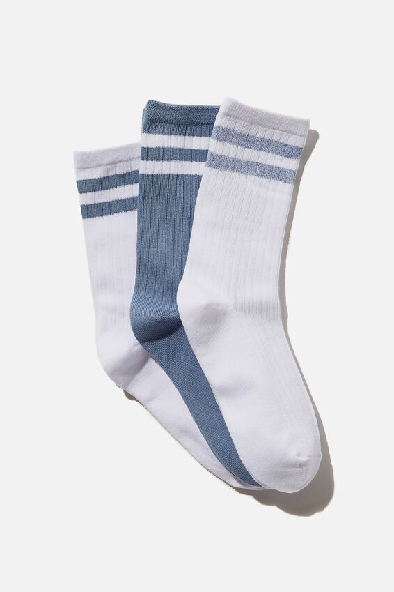 3Pk Body Crew Sock, COPEN BLUE/STRIPE