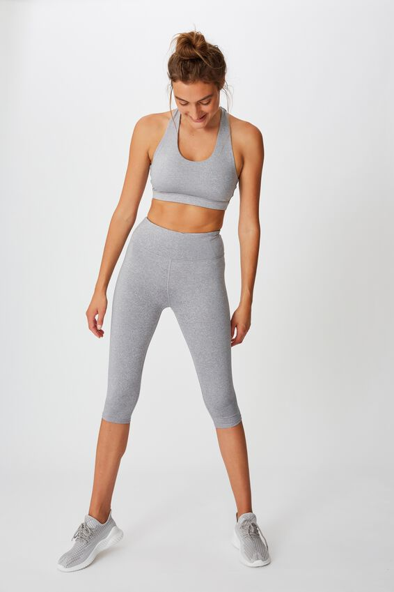 Workout Cut Out Crop, MID GREY MARLE