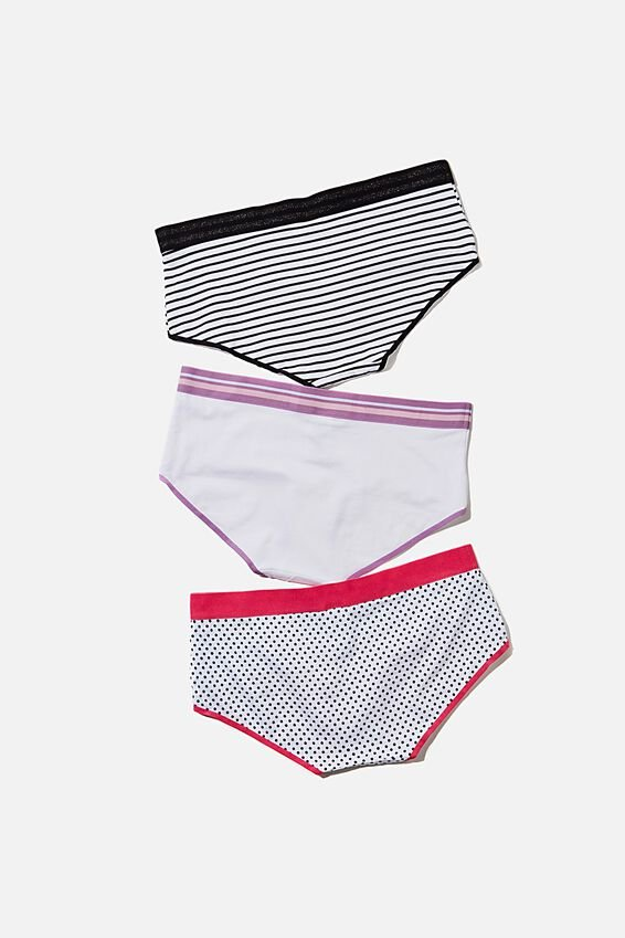 Sporty Femme Boyleg Brief, BLACK STRIPE/WHITE/BLACK SPOT