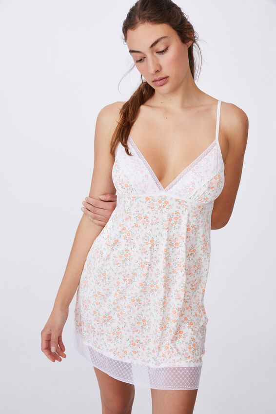 Slinky Nightie, TOSS DITSY WHITE
