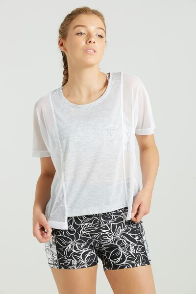 Mesh Cropped T Shirt, GREY MARLE/WHITE