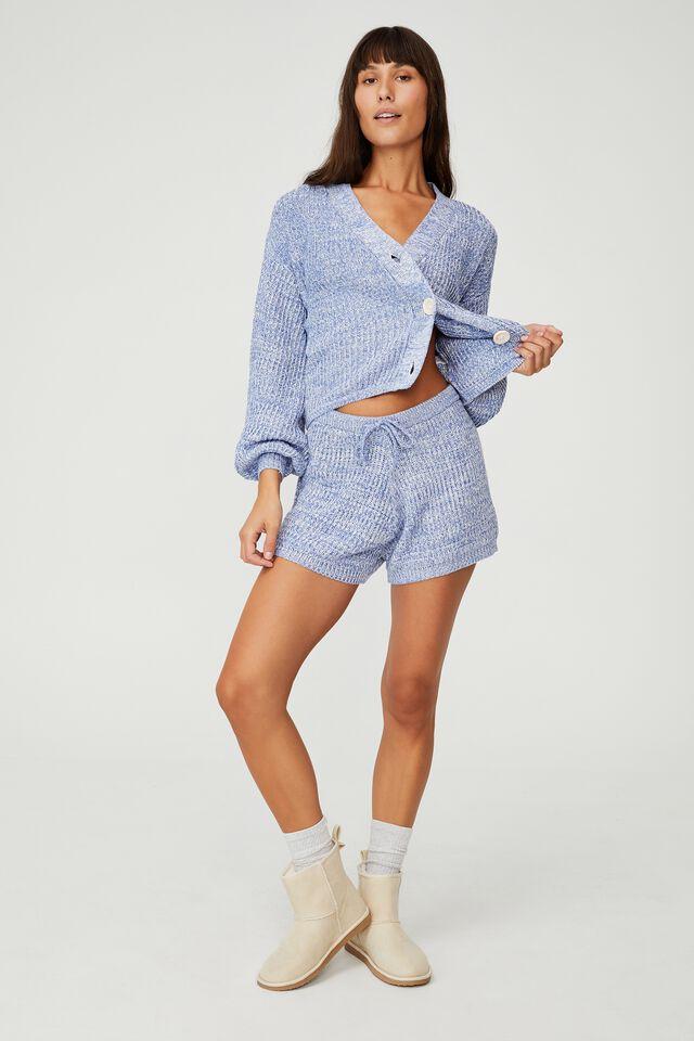 Organic Cotton Knit Lounge Short, BALLAD BLUE MARLE