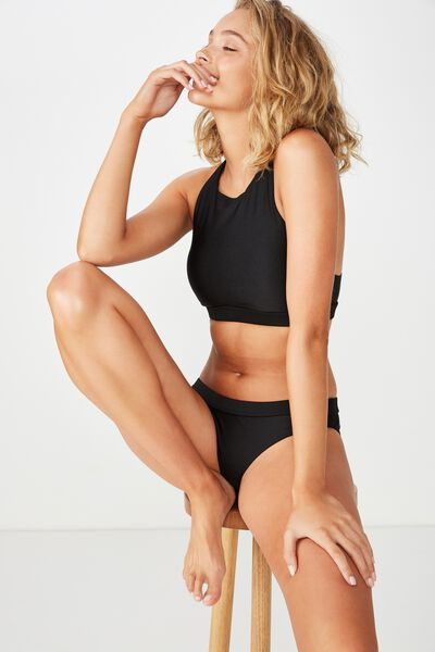 Claire Elastic Crop Bikini Top, BLACK