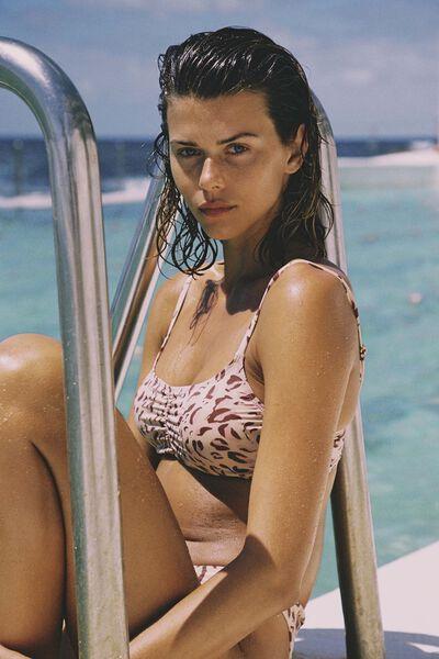 Gathered Front Backless Bikini Top, MOVEMENT LEOPARD