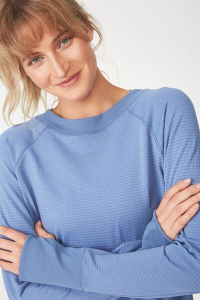 Waffle Crew Neck Long Sleeve Top, CHALKY BLUE