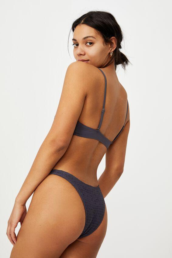 U Crop Bralette Bikini Top, IRON SHIRRED