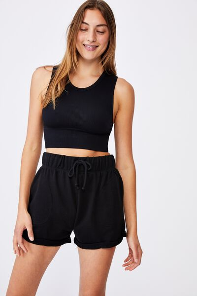 Summer Fleece Short, BLACK