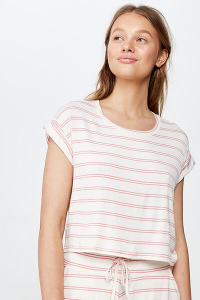 Sleep Recovery Hip Grazer T-Shirt, SLEEPY STRIPE/ PINK GLOW