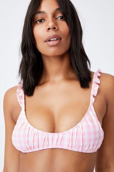 U Crop Bralette Bikini Top Gingham, PALE PINK GINGHAM/FRILL