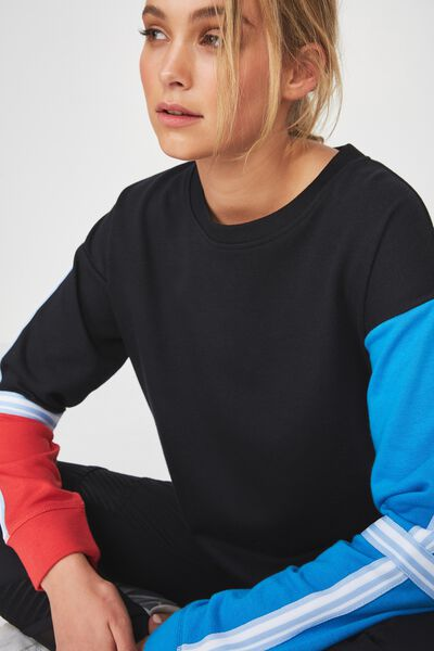 Long Sleeve Terry Crew Top, BLACK / BLUE JEWEL