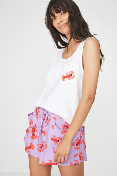 Jersey Scoop Tank Top, WHITE/LOBSTER