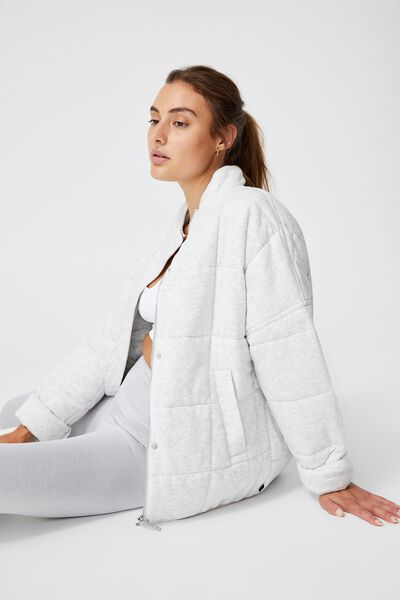Quilted Zip Through Jacket, GREY MARLE