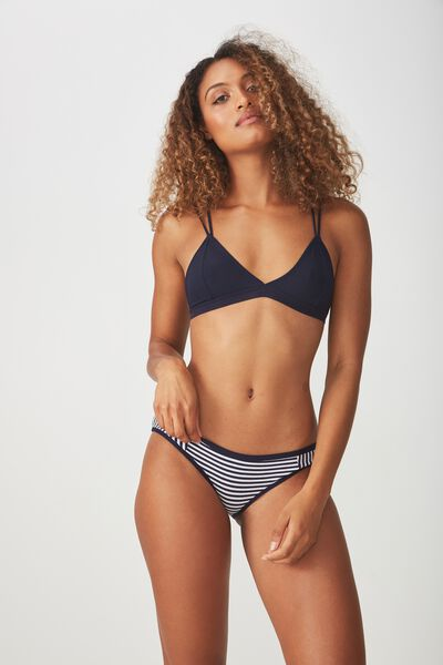 Cotton Flat Elastic Cheeky Bikini Brief, MIDNIGHT STRIPE SPLICE