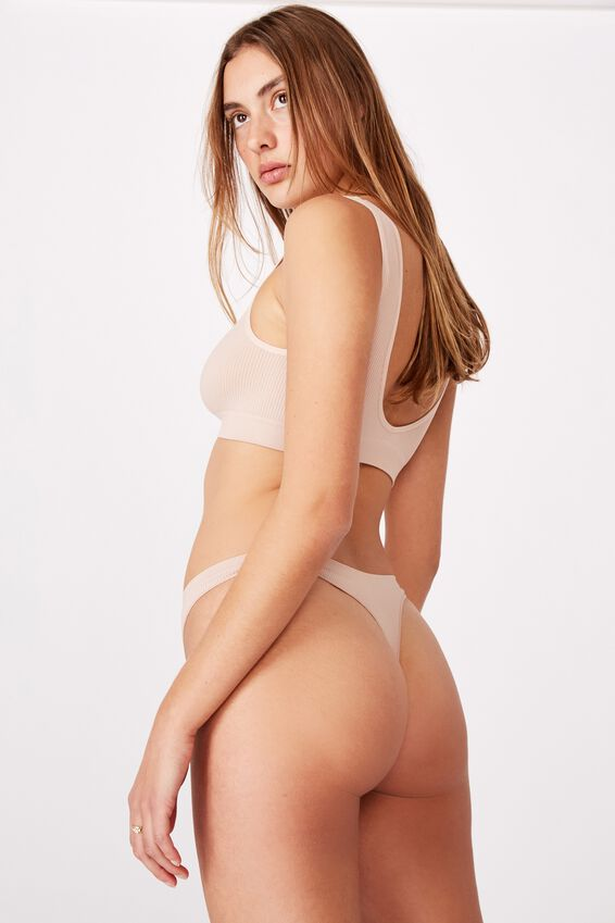 Seamless Thong Brief, NEW LATTE