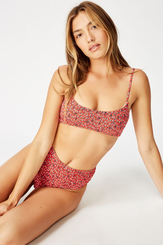 Highwaisted Full Bikini Bottom, RED DITSY SHIRRED