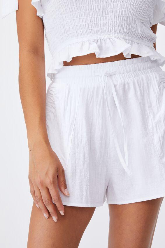 Tie Waist Beach Short, WHITE