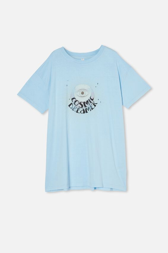 90 S Tshirt Nightie, COSMIC DREAMER WASHED CLEAR SKY