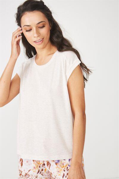 Rib Boxy T-Shirt, NATURAL MARLE