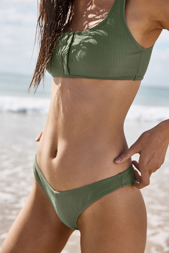 High Side Brazilian Bikini Bottom, COOL AVOCADO RIB