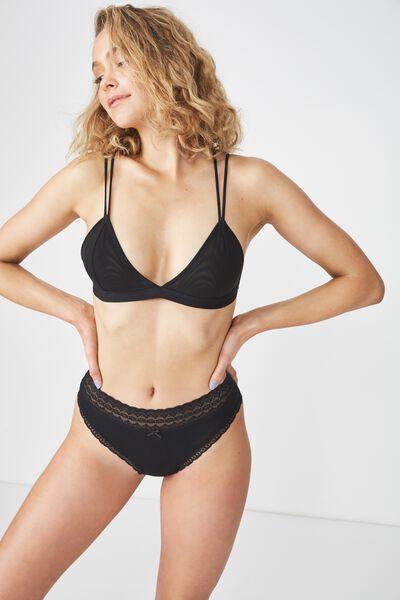 Cotton Lace Trim High Waist Bikini Brief, BLACK