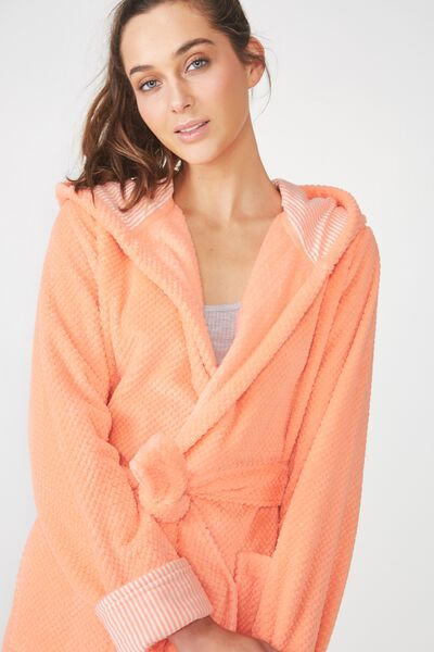 Luxe Plush Gown, CORAL SORBET MINI TEXTURED