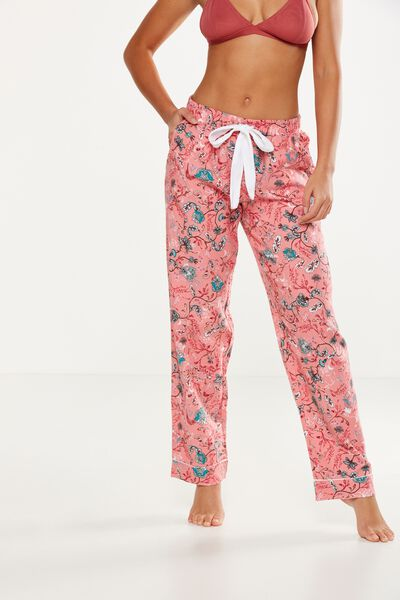Non Cuffed Flannel Pant, ORNATE HARVEST/ROSEY PINK
