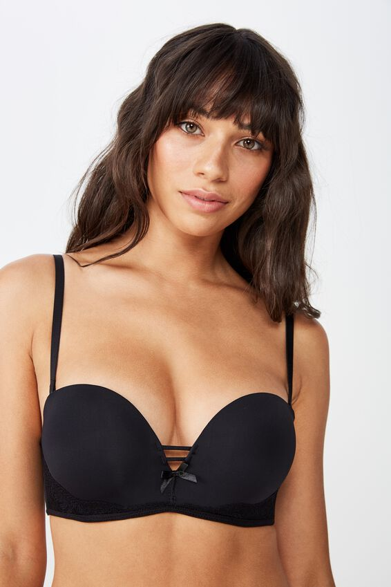 Sophia Lace Strapless Push Up 2 Bra, BLACK