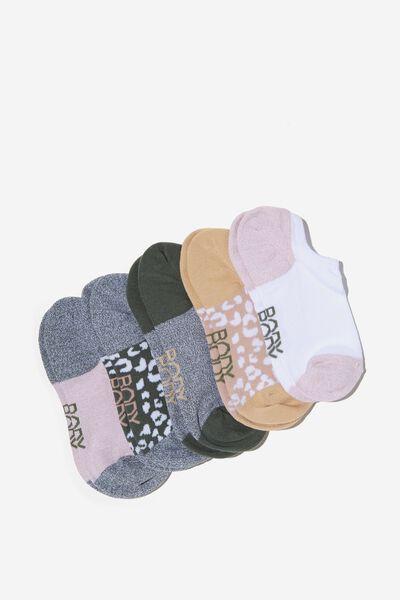 5Pk Body Low Cut Socks, GREEN HAZE/OYSTER PINK