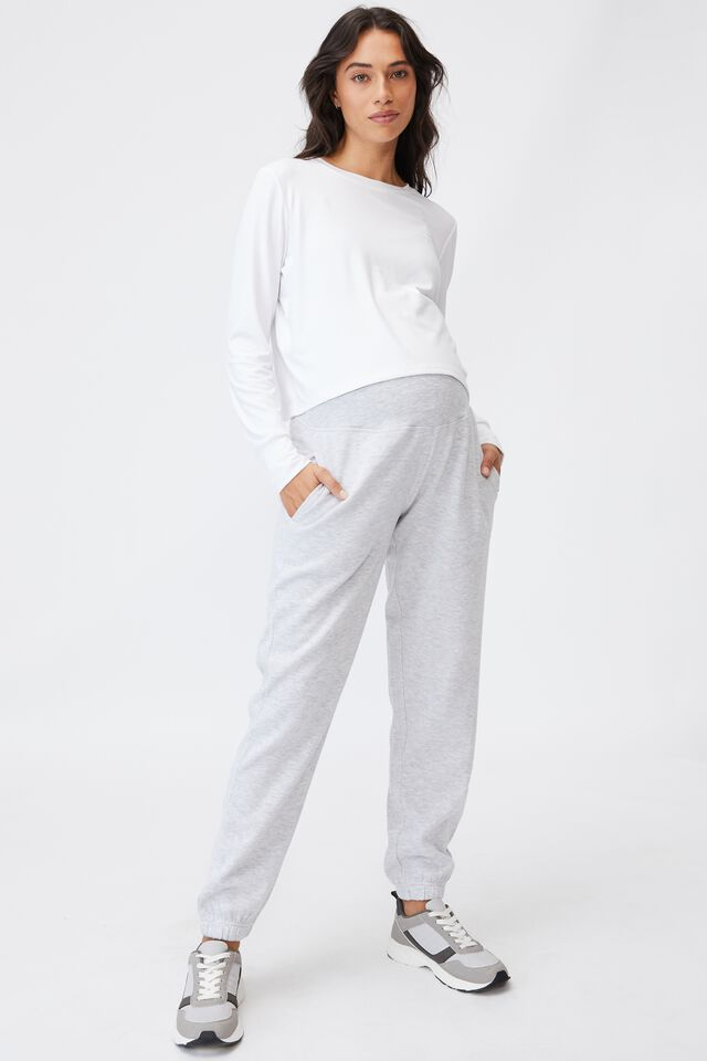 Maternity Lifestyle Gym Track Pant, CLOUDY GREY MARLE