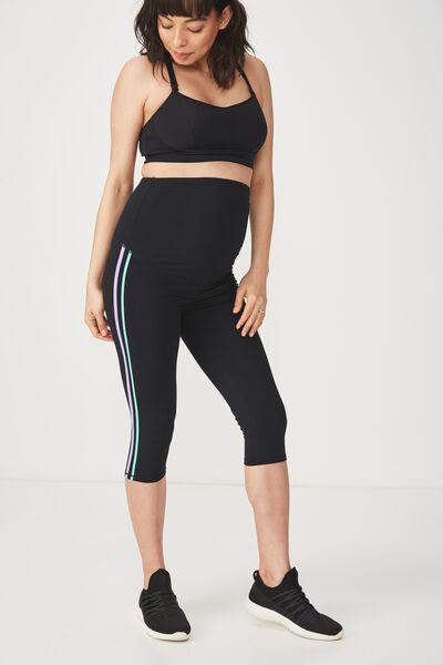 Maternity Side Stripe Capri, BLACK/STRIPE