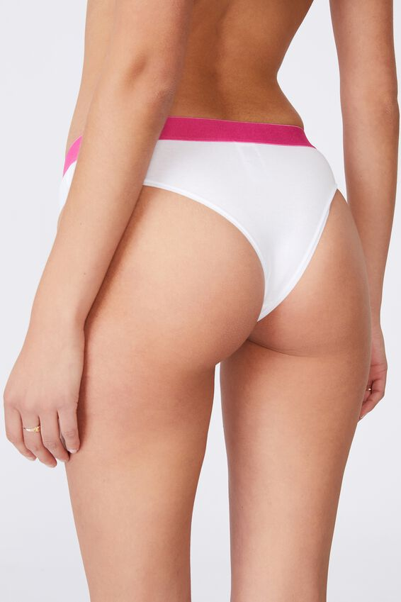 Sporty Femme Brasiliano Brief, BLACK/GREY STRIPE/WHITE