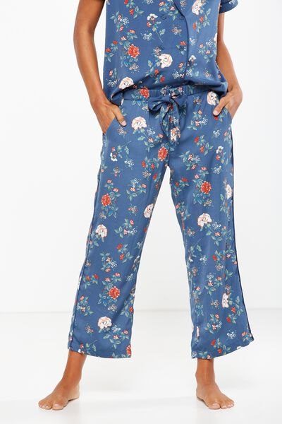 Love Cropped Pant, TOSSED FLORAL/INFINITY BLUE