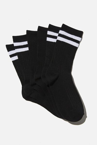 3Pk Body Crew Sock, BLACK/WHITE STRIPE