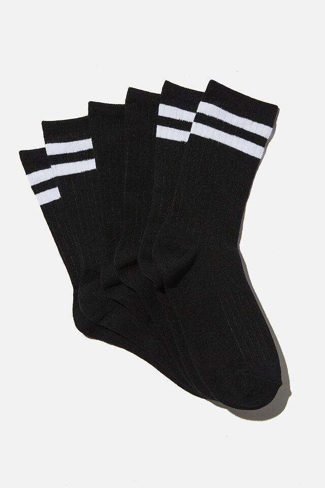 3Pk Body Crew Sock, BLACK/WHITE STRIPE