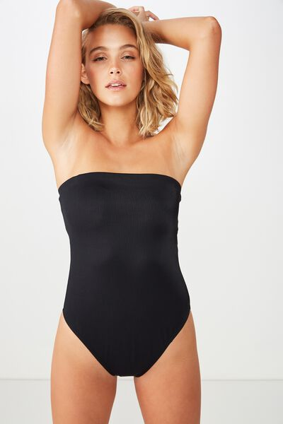 Molly Rib Strapless One Piece Cheeky, BLACK