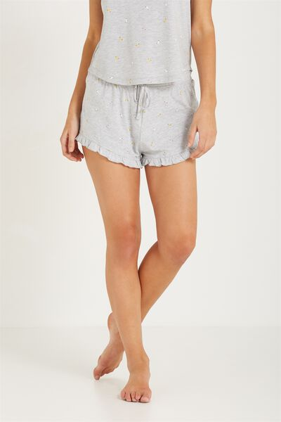 Match Back Frill Short, GREY MARLE BANANA