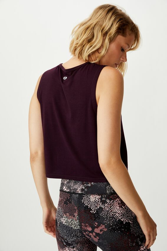 Cropped Active Muscle Tank, EGGPLANT