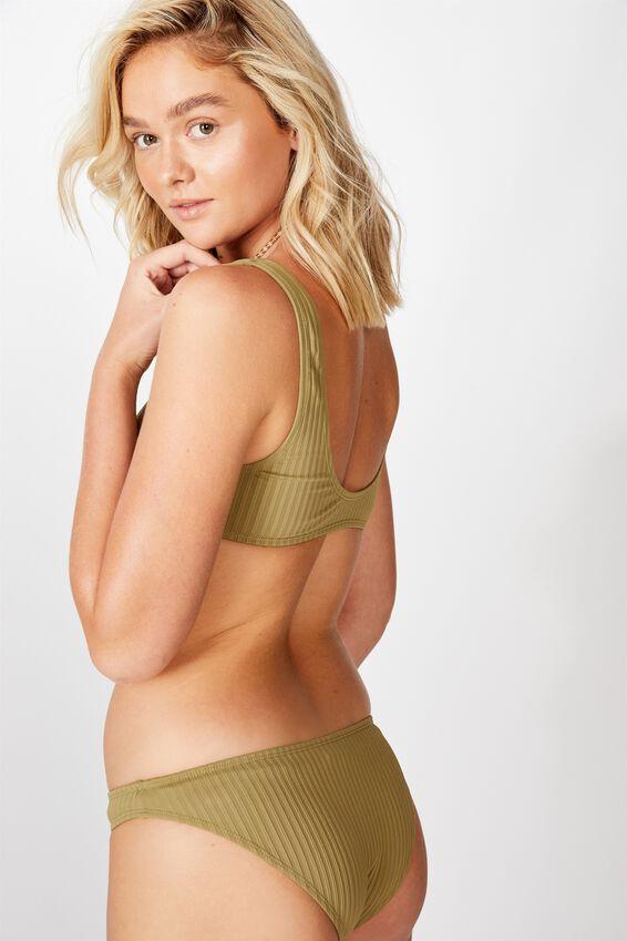 Crop Bikini Top, KHAKI RIB