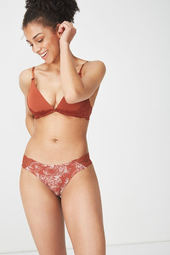 Party Pants Seamless Brasiliano Brief, BURNT RUST LINEWORK FLORAL