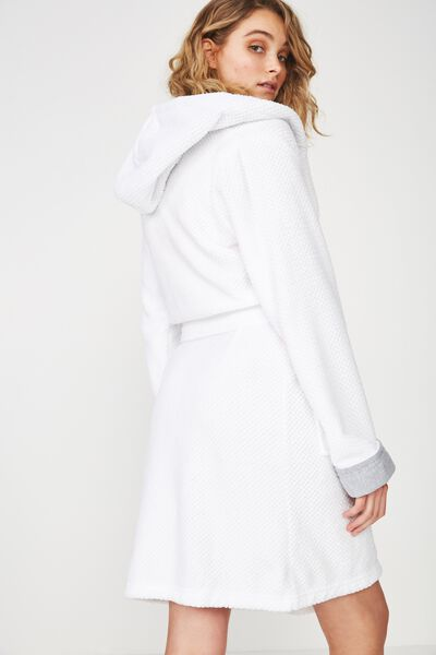 Luxe Plush Robe, WHITE MINI TEXTURED