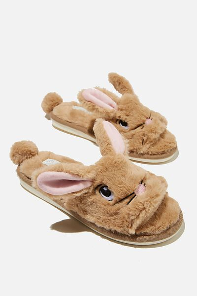 Novelty Slide Slipper, CARAMEL EASTER BUNNY