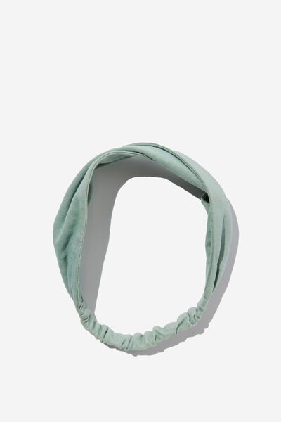Organic Cotton Twist Headband, SMOKED GREEN